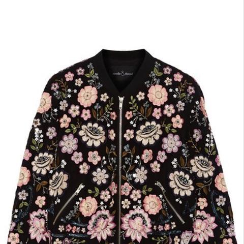 Embellished Chiffon Bomber Jacket
