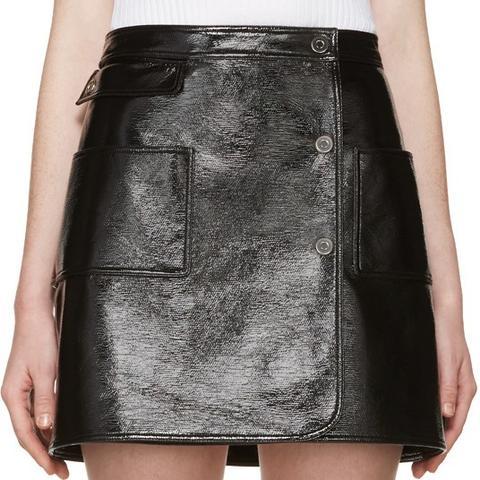 Black Patent Mini Skirt