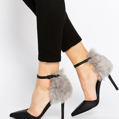 Romy Black with Grey Faux Fur Heeled Shoes