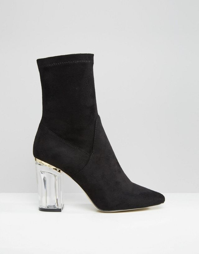 Public Desire Black Clear Heeled Ankle Boots