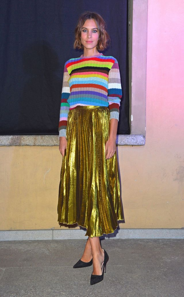 Knitwear can really make a statement, if you want it to. Focus on amping up the colour like Alexa Chung has here, and also consider playing with texture—it will make your choices look a...