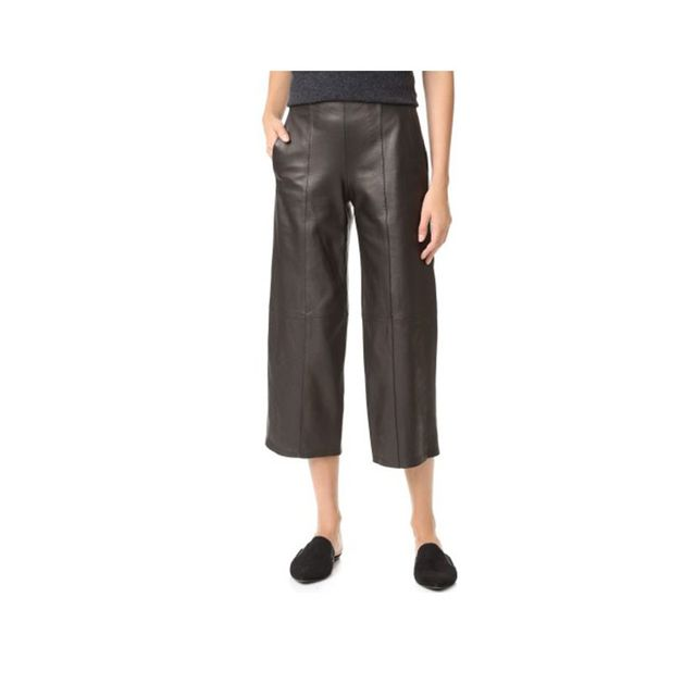 Vince Leather Front Seam Culottes