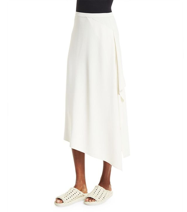 Helmut Lang Draped-Side Crepe Midi Skirt