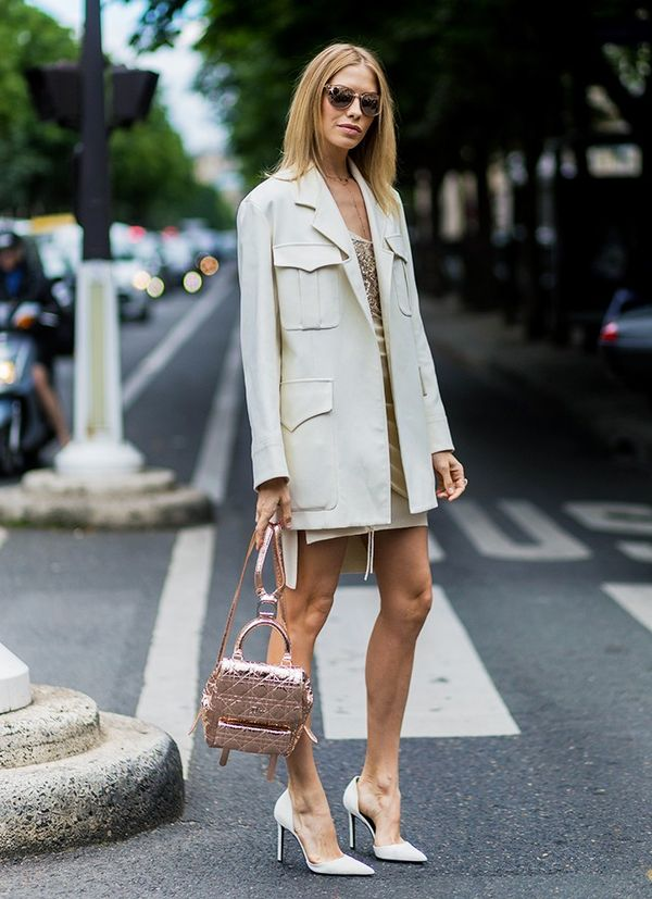 Style Notes: The '70s safari jacket makes a softer comeback in Elena Perminova's muted ensemble. P.S. That Dior backpack is totally cute.