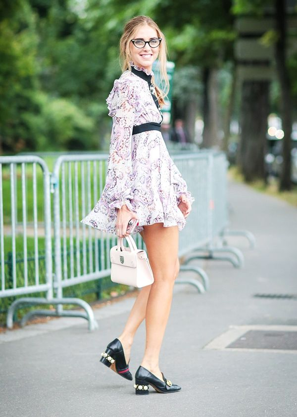 Style Notes: Chiara Ferragni's Gucci loafers and a pair of nerdy frames ground this floaty babydoll dress.