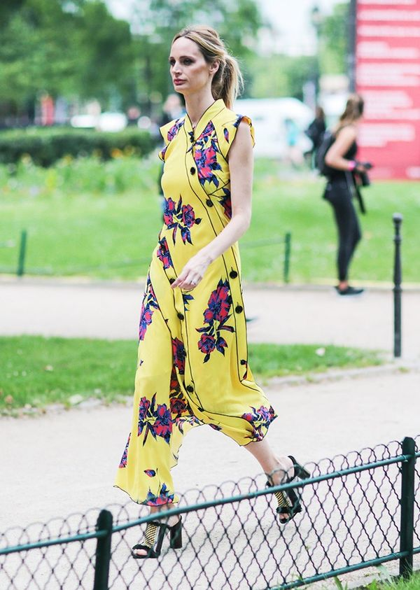 Style Notes: Standing out from the pastel-clad crowd, Lauren Santo Domingo strikes a bright chord in this beautiful floral dress.