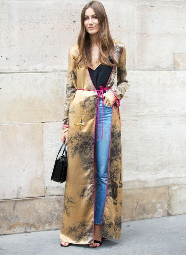 Style Notes: Giorgia Tordini's wearing a robe from Attico, her own label (set up with fellow fashion girl Gilda Ambrosio).