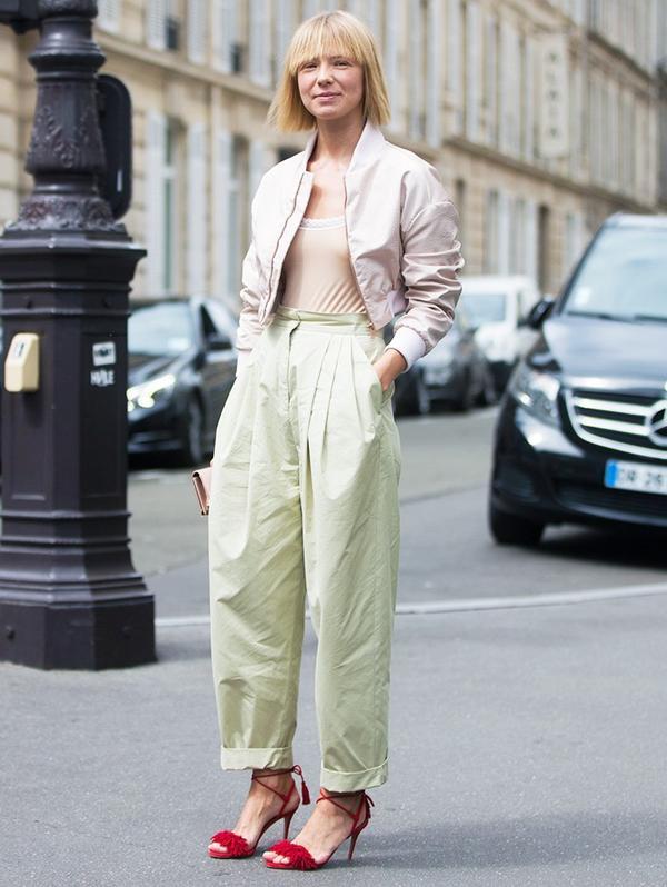 Style Notes: Designer Vika Gazinskaya punctuates her pastels with a shocking dash of Aquazzura red shoes.