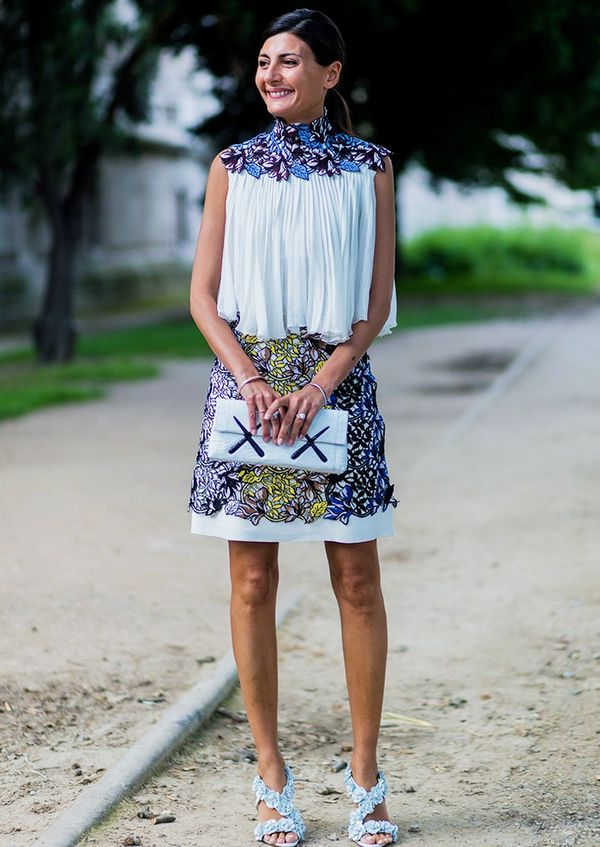 Style Notes: Giovanna Battaglia's ensemble is a textural feast. Anyone else want to feel that skirt?
