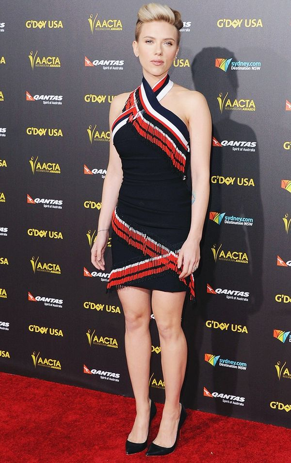 Who: Scarlett Johasson What:G'Day USA Gala, January 2015 Wear: Preen by Thornton Bregazzi S/S 15 dress