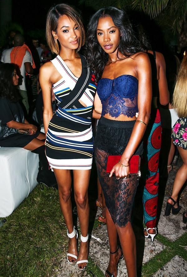 Who: Jourdan Dunn What: Miami Art Basel, December 2014 Wear: Preen by Thornton Bregazzi S/S15 dress