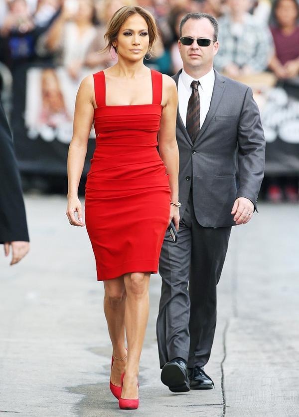 Who: Jennifer Lopez What: Jimmy Kimmel Live, March 2015 Wear: Preen by Thornton BregazziDew dress in red