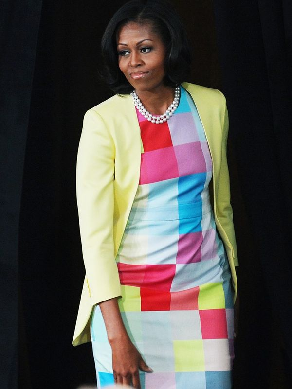 Who: Michelle Obama What: Press conference, June 2012 Wear: Preen S/S 12 dress