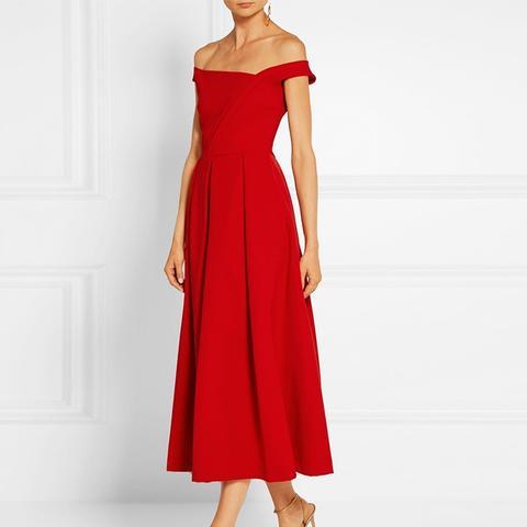 Finella Pleated Stretch-Crepe Midi Dress