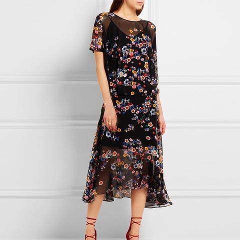 Melina Floral-Print Silk-Georgette Midi Dress