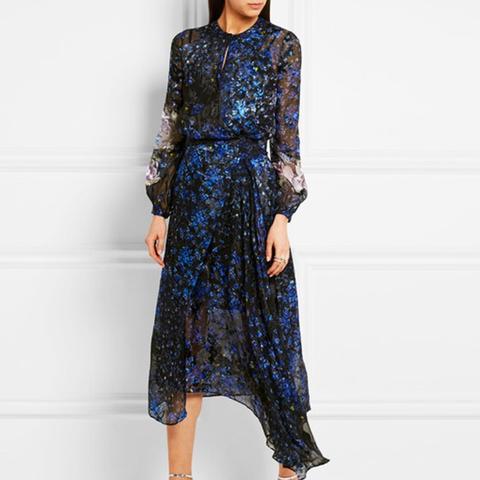 Aurora Devoré Silk-Chiffon Dress
