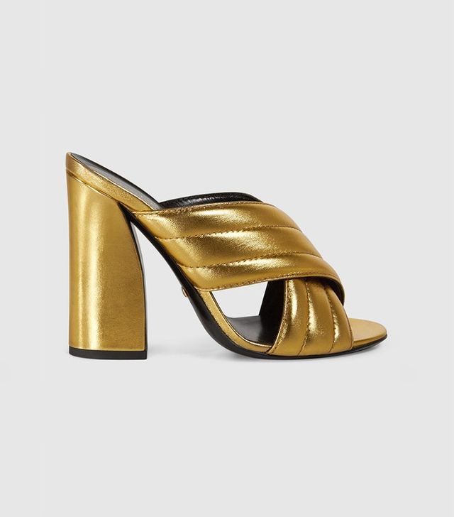 Gucci Metallic Crossover Sandal