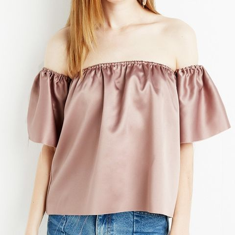 Champagne Off the Shoulder Raw Hem Top
