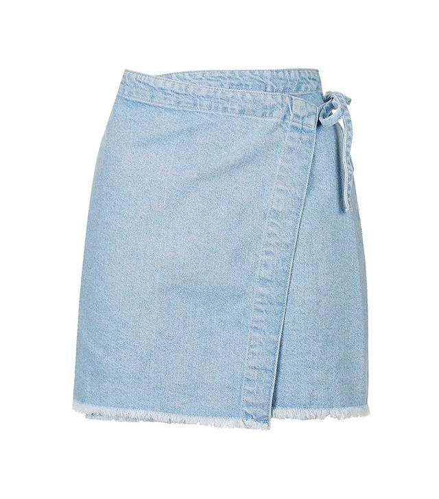 Topshop Moto Bleach Wrap Skirt