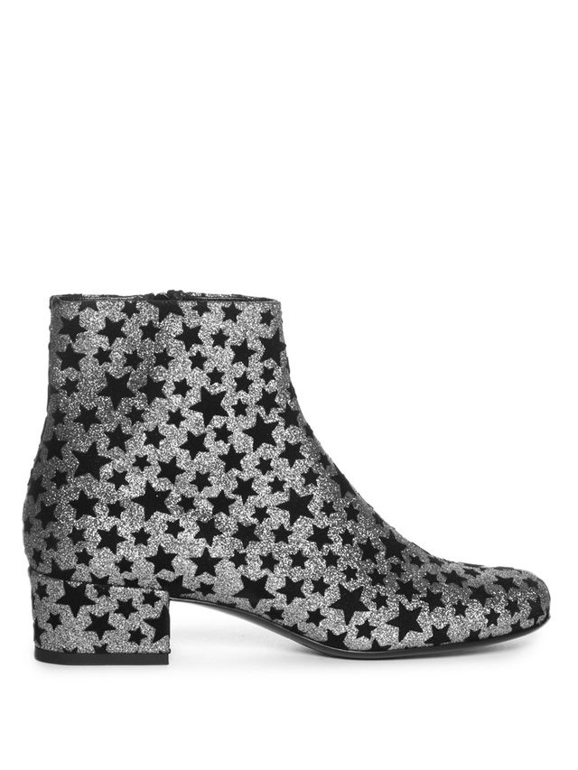 Saint Laurent Babies Star-Embellished Glitter Ankle Boots