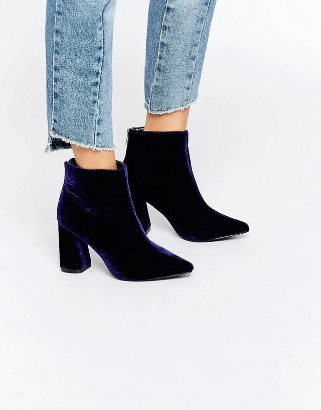 Daisy Street Velvet Point Heeled Ankle Boots