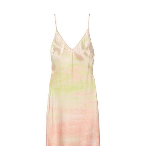 Tie-Dyed Silk-Satin Slip Dress