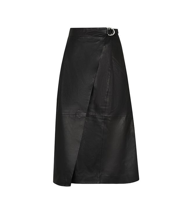 Whistles Wrap Leather Midi Skirt