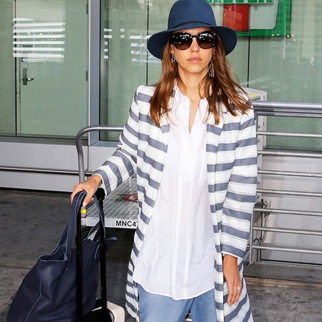 Jessica Alba's Boyfriend Jeans Look Particularly Comfy for Travel