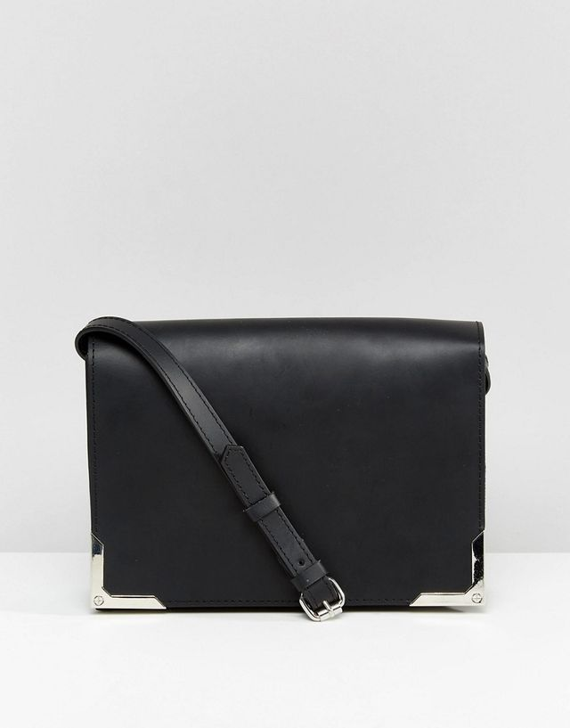 ASOS Leather Shoulder Bag With Metal Corners