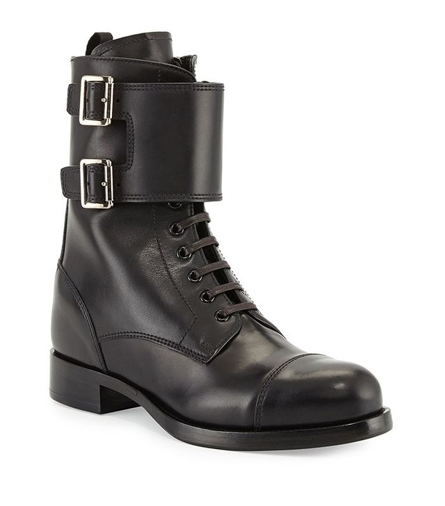 Prada Leather Lace Up Combat Boots