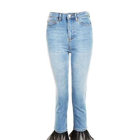 MOTO Tulle Hem Straight Leg Jeans