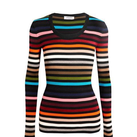 Striped Stretch-Knit Sweater