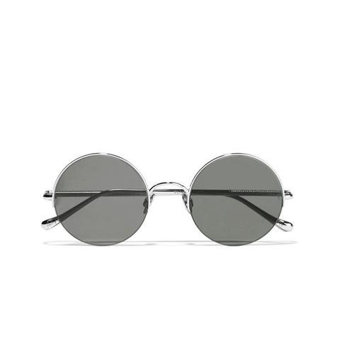 Raine Round-Frame Silver-Tone Sunglasses