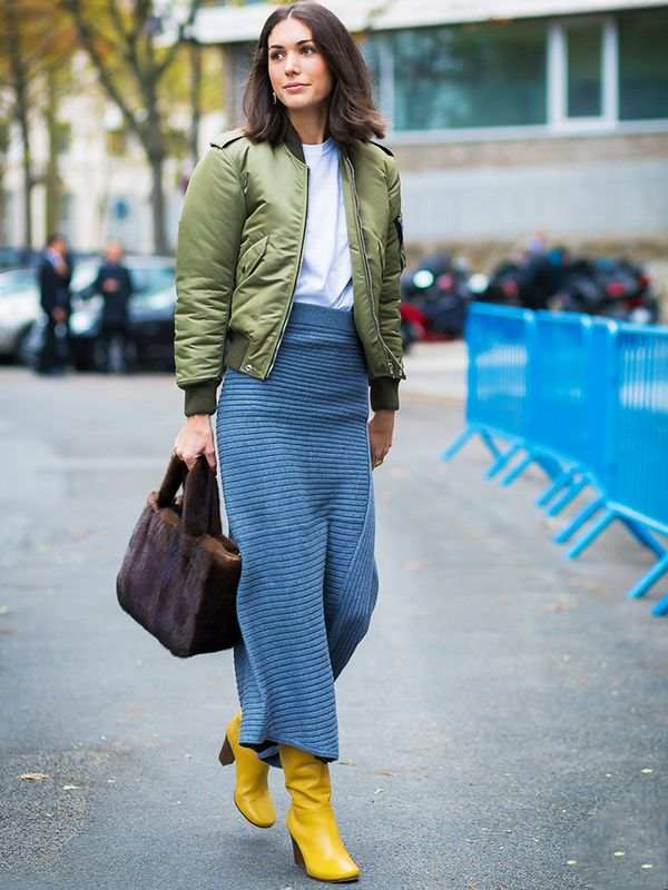 How to wear maxi skirt: Try the knitted version