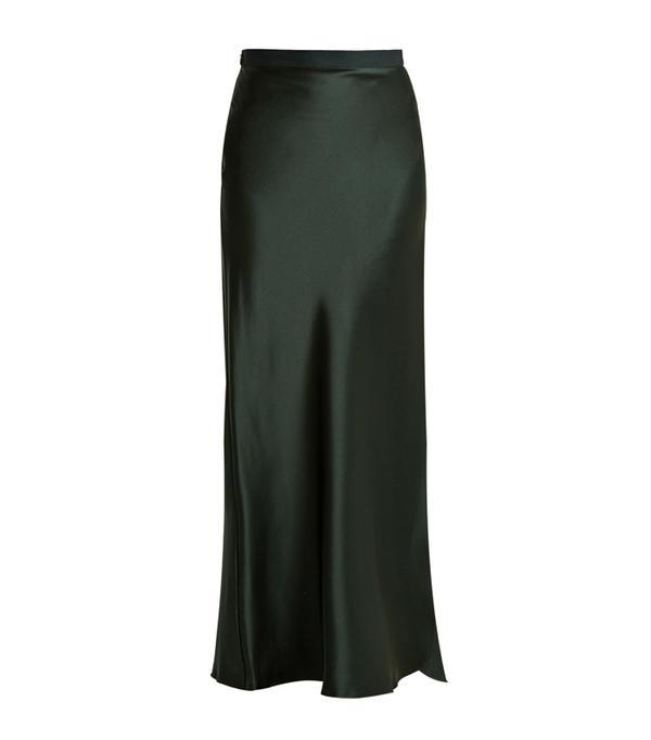 How to wear maxi skirt: Nili Lotan Maya Silk-Satin Maxi Skirt