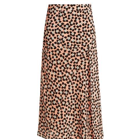 Slit-Front Ditsy-Print Silk Wrap Skirt