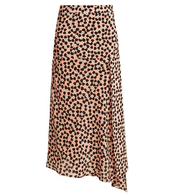How to wear maxi skirt: Raey Slit-front Ditsy-print silk wrap skirt