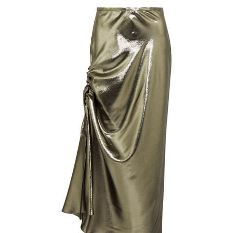 Laura Asymmetric Ruched Silk-Blend Lamé Skirt