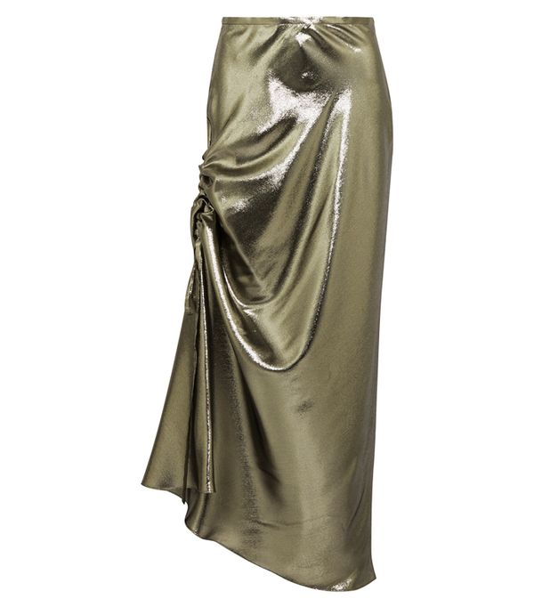 How to wear maxi skirt: Ellery Laura Asymmetric Ruched Silk-Blend Lamé Skirt