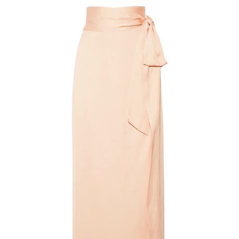 Almeria Satin Wrap Maxi Skirt