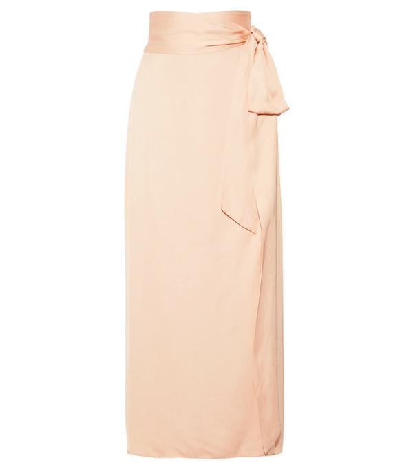 How to wear maxi skirt: Elizabeth and James Almeria Satin Wrap Maxi Skirt