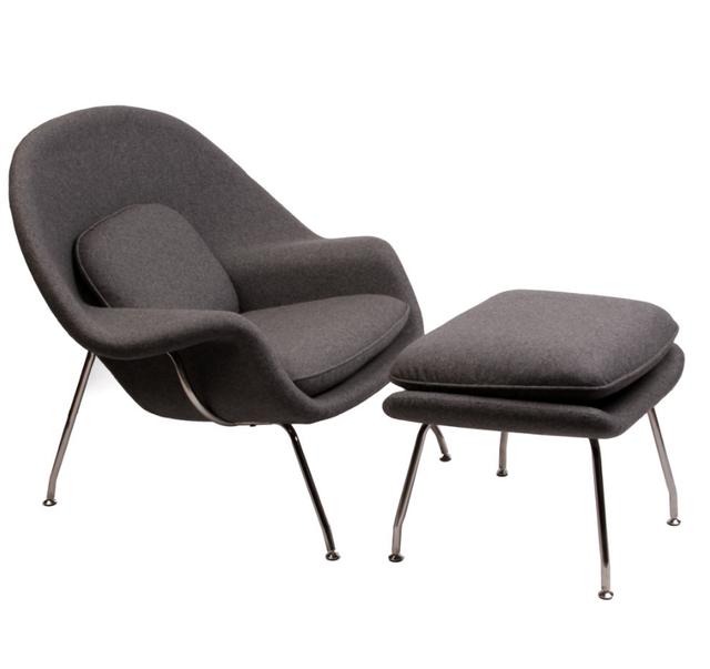 Matt Blatt Replica Eero Saarinen Womb Chair and Ottoman