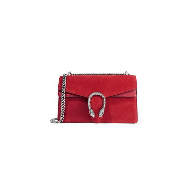 Gucci Dionysus Medium Leather-Trimmed Suede Shoulder Bag