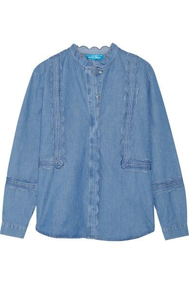 M.i.h Jeans Ile Scalloped Cotton-Chambray Top