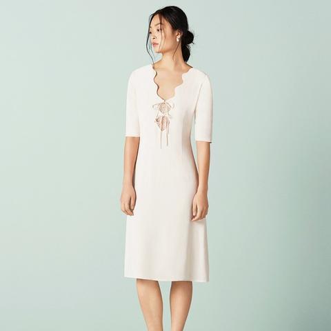 Swinton Scallop Tie Front Tea Dress