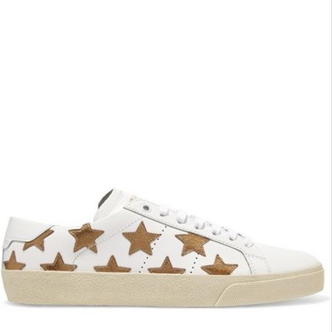 Star-Appliqued Leather Sneakers