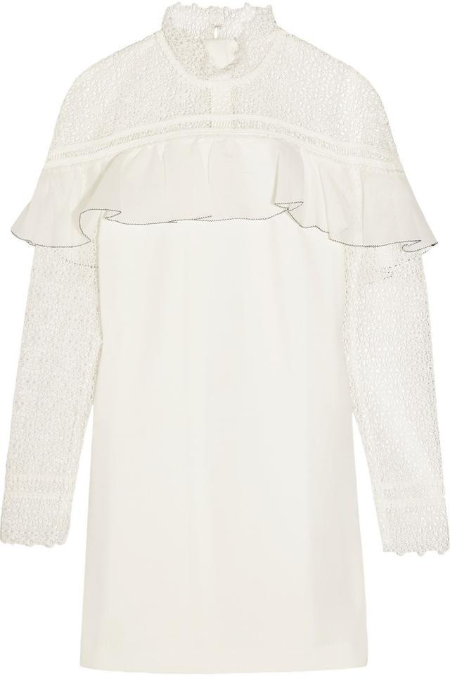 Self-Portrait Ruffled Guipure Lace and Crepe Mini Dress