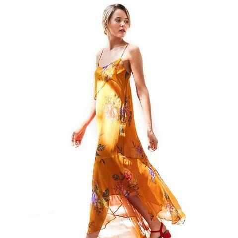 Hooka Floral Chiffon Midi Slip Dress