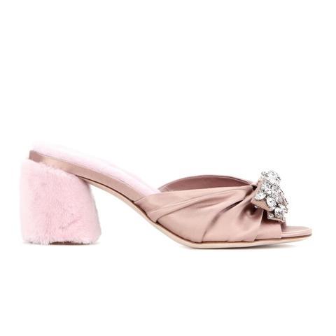 Embellished Satin and Shearling Sandals