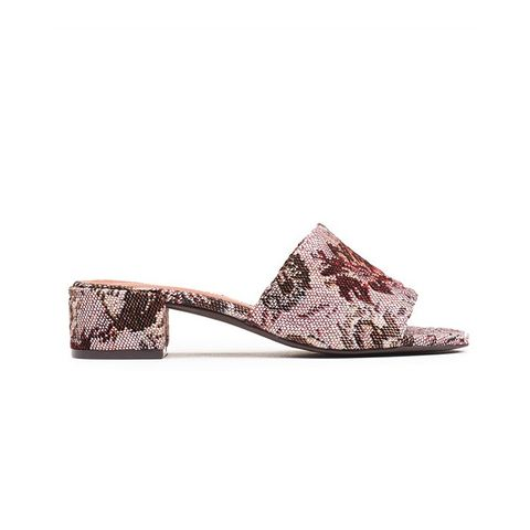 Beaton Mules in Wine Floral Tapestry